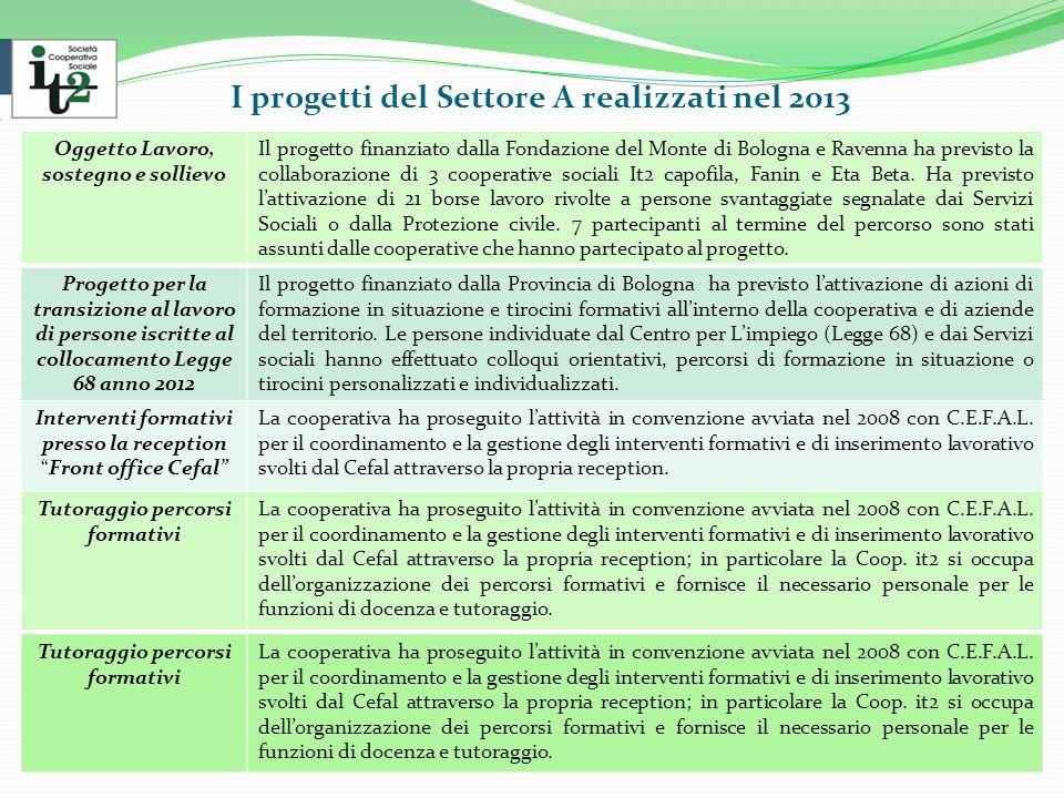 I progetti del Settore A realizzati nel 2013 Oggetto Lavoro, sostegno e sollievo Il progetto finanziato dalla Fondazione del Monte di Bologna e Ravenna ha previsto la collaborazione di 3 cooperative sociali It2 capofila, Fanin e Eta Beta.