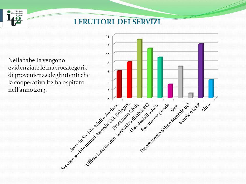 I FRUITORI DEI SERVIZI Nella tabella vengono evidenziate le macrocategorie di provenienza degli utenti che la cooperativa It2 ha ospitato nell'anno 2013.