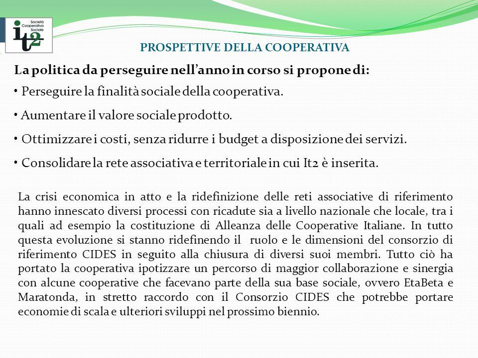 PROSPETTIVE DELLA COOPERATIVA La politica da perseguire nell'anno in corso si propone di: Perseguire la finalità sociale della cooperativa.