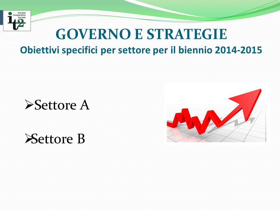 GOVERNO E STRATEGIE Obiettivi specifici per settore per il biennio 2014-2015  Settore A  Settore B