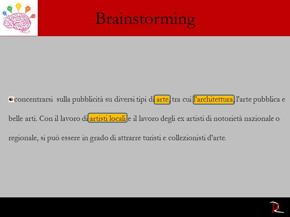 Brainstorming concentrarsi sulla pubblicità su diversi tipi di arte, tra cui l architettura, l arte pubblica e belle arti.