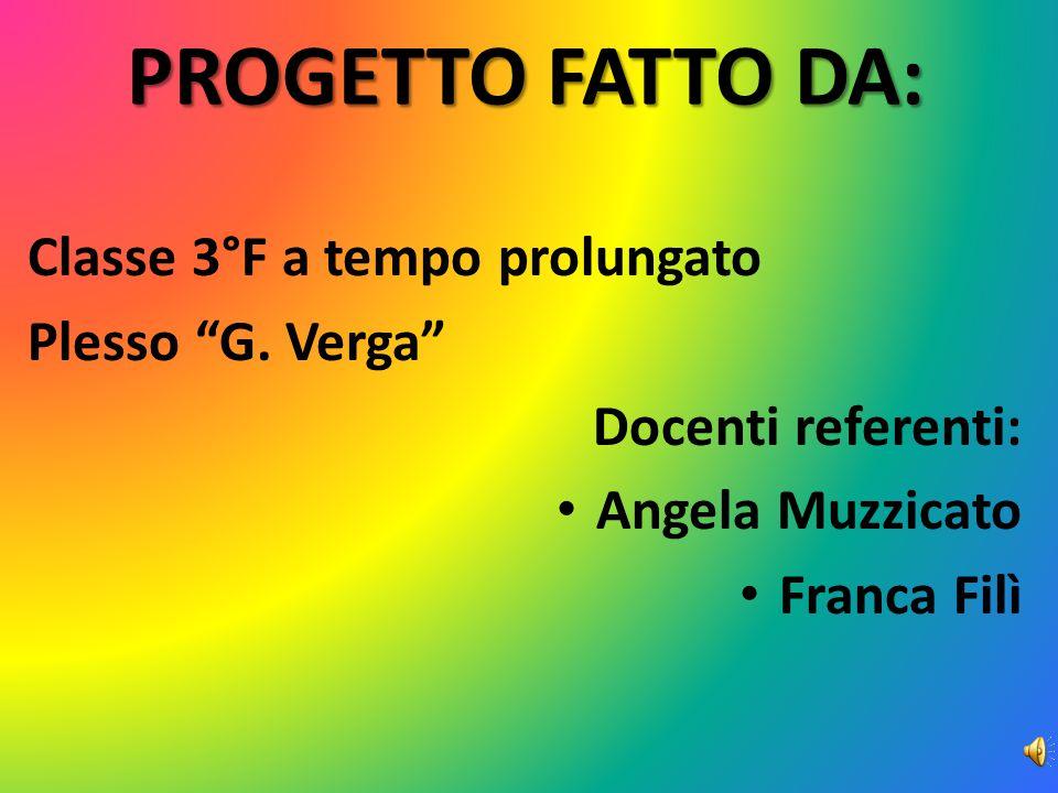 """Classe 3°F a tempo prolungato Plesso """"G. Verga"""" Docenti referenti: Angela Muzzicato Franca Filì PROGETTO FATTO DA:"""