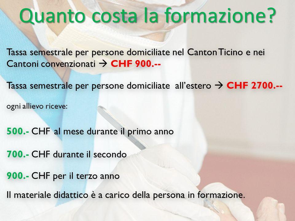 Quanto costa la formazione? Tassa semestrale per persone domiciliate nel Canton Ticino e nei Cantoni convenzionati  CHF 900.-- Tassa semestrale per p