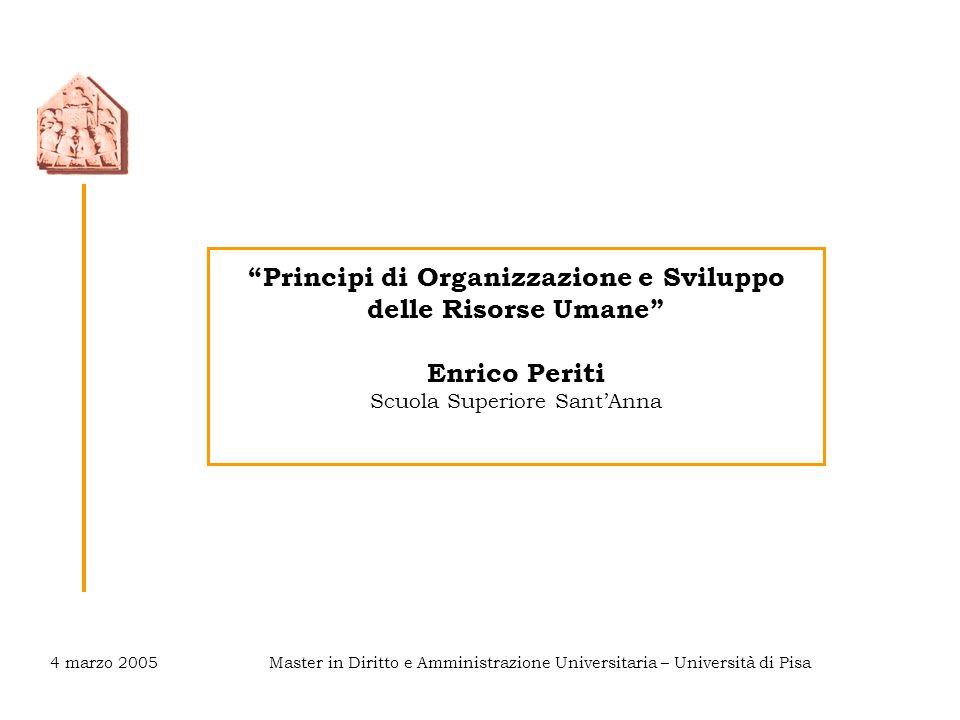 Principi di Organizzazione e Sviluppo delle Risorse Umane Enrico Periti Scuola Superiore Sant'Anna Master in Diritto e Amministrazione Universitaria – Università di Pisa4 marzo 2005