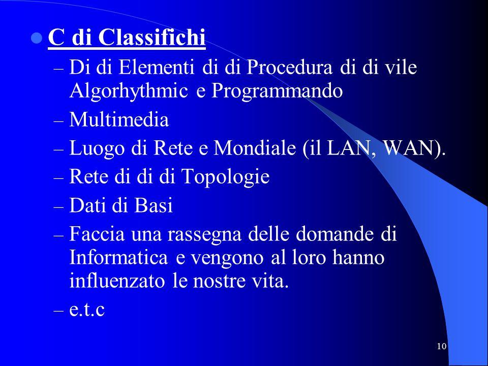 10 C di Classifichi – Di di Elementi di di Procedura di di vile Algorhythmic e Programmando – Multimedia – Luogo di Rete e Mondiale (il LAN, WAN).