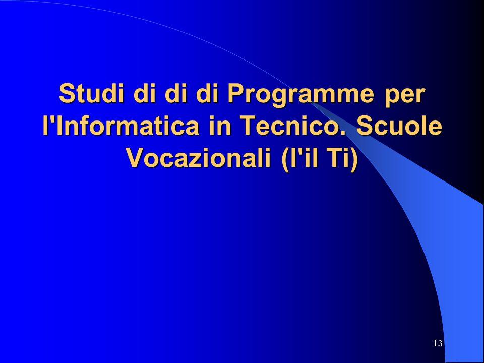 13 Studi di di di Programme per l Informatica in Tecnico. Scuole Vocazionali (l il Ti)