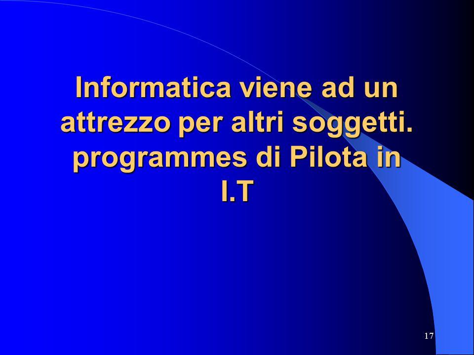 17 Informatica viene ad un attrezzo per altri soggetti. programmes di Pilota in I.T