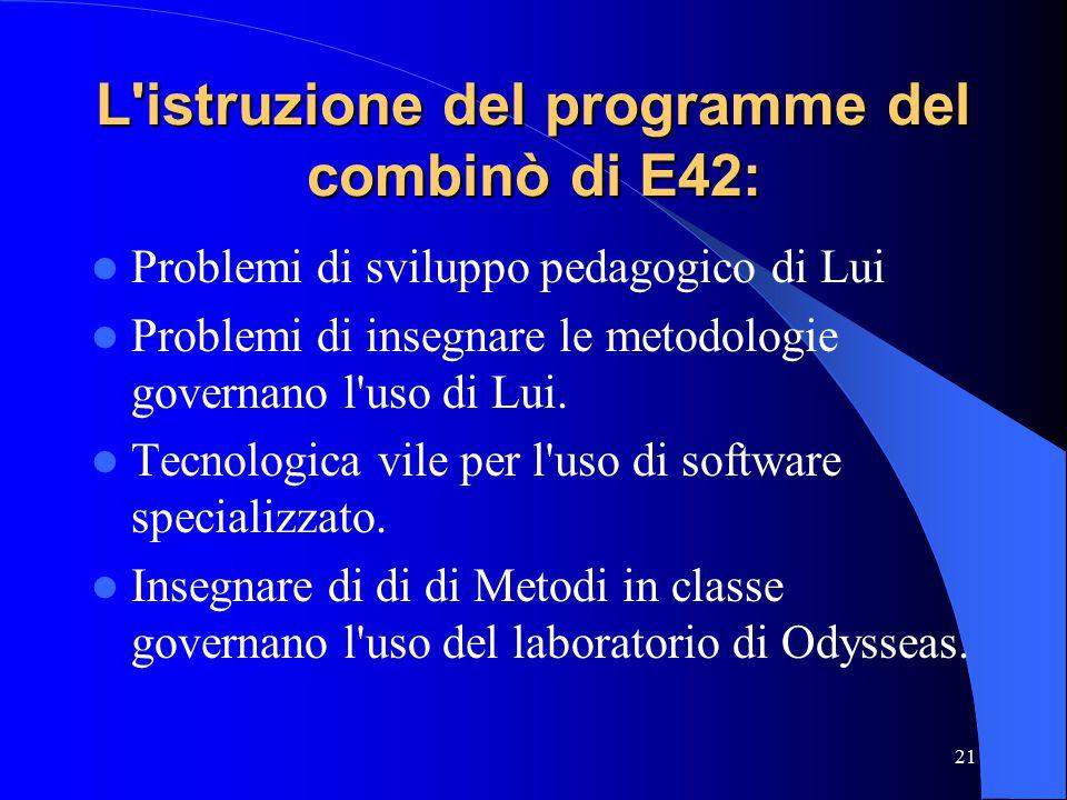 21 L istruzione del programme del combinò di E42: Problemi di sviluppo pedagogico di Lui Problemi di insegnare le metodologie governano l uso di Lui.