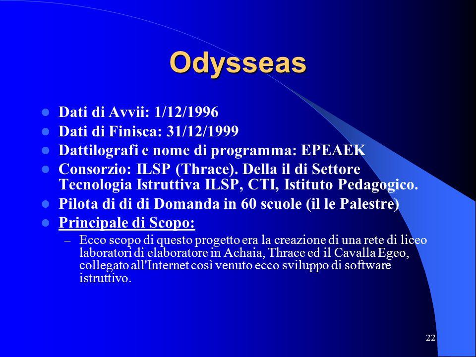 22 Odysseas Dati di Avvii: 1/12/1996 Dati di Finisca: 31/12/1999 Dattilografi e nome di programma: EPEAEK Consorzio: ILSP (Thrace).