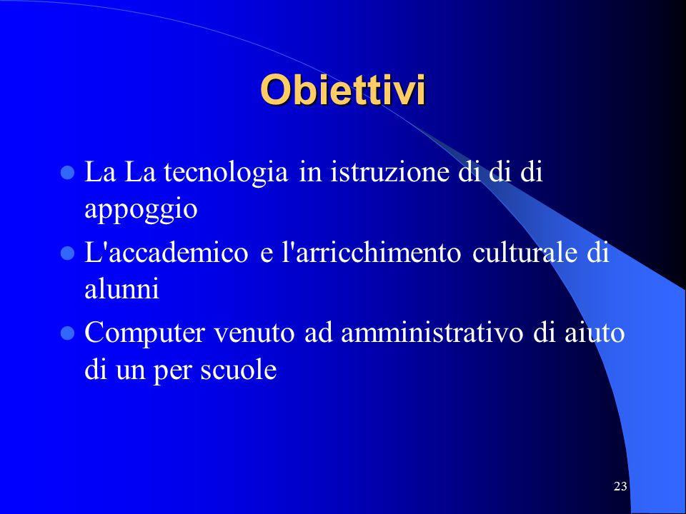 23 Obiettivi La La tecnologia in istruzione di di di appoggio L accademico e l arricchimento culturale di alunni Computer venuto ad amministrativo di aiuto di un per scuole