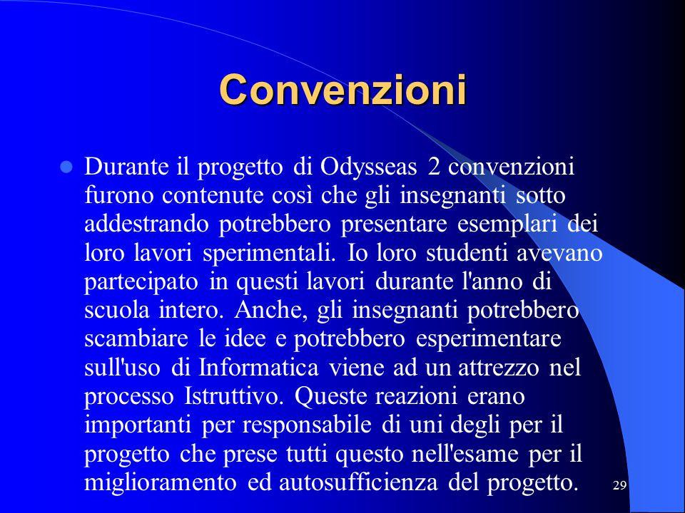 29 Convenzioni Durante il progetto di Odysseas 2 convenzioni furono contenute così che gli insegnanti sotto addestrando potrebbero presentare esemplari dei loro lavori sperimentali.