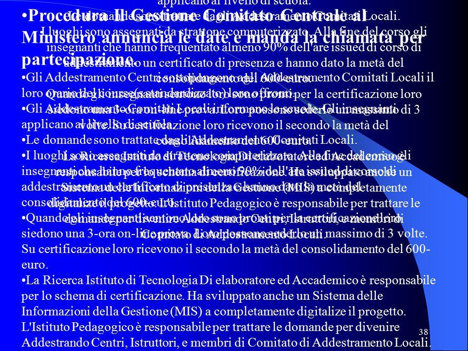 38 Procedura Il Gestione Comitato Centrale al Ministero annuncia le date e manda la chiamata per partecipazione.