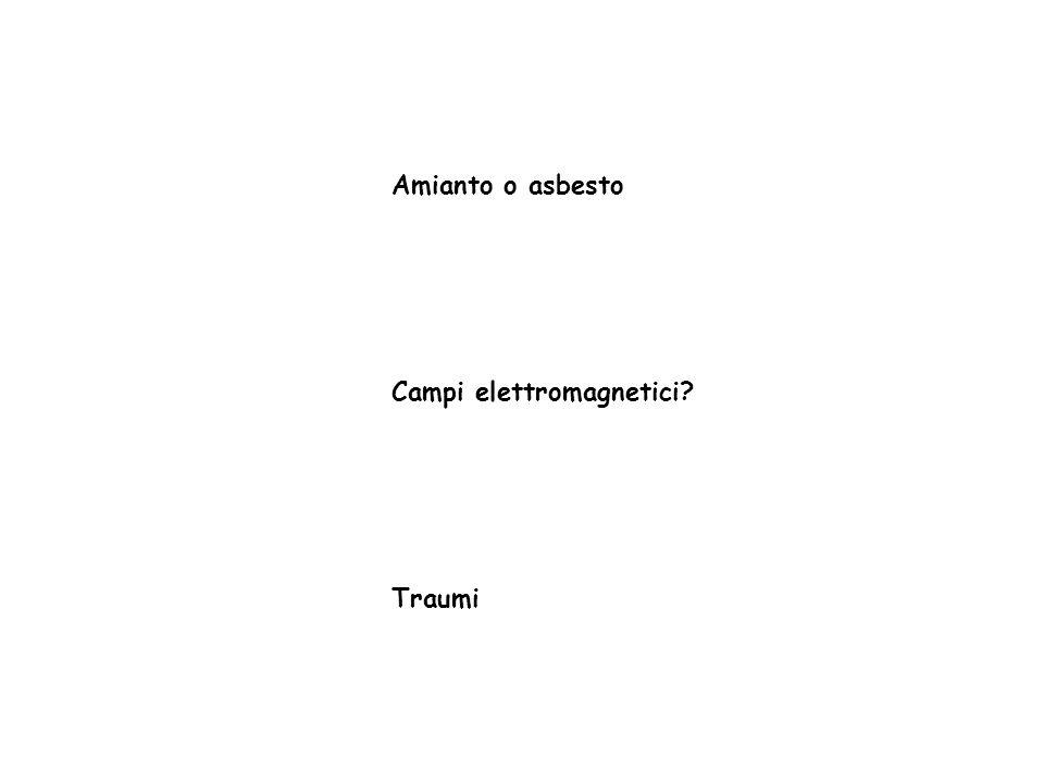 Amianto o asbesto Campi elettromagnetici? Traumi