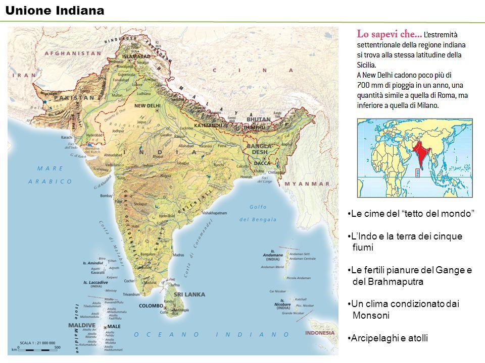 Unione Indiana Le cime del tetto del mondo L'Indo e la terra dei cinque fiumi Le fertili pianure del Gange e del Brahmaputra Un clima condizionato dai Monsoni Arcipelaghi e atolli