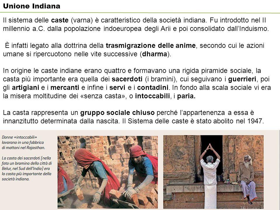 Unione Indiana Il sistema delle caste (varna) è caratteristico della società indiana.