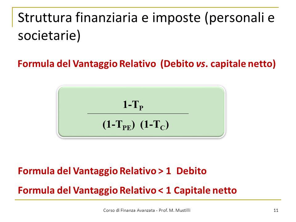 Struttura finanziaria e imposte (personali e societarie) 11 Corso di Finanza Avanzata - Prof. M. Mustilli Formula del Vantaggio Relativo (Debito vs. c