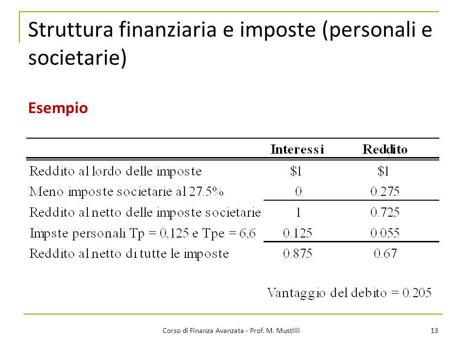 Struttura finanziaria e imposte (personali e societarie) 13 Corso di Finanza Avanzata - Prof. M. Mustilli Esempio