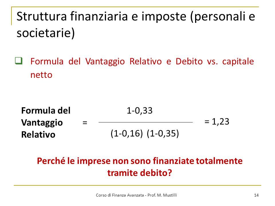 Struttura finanziaria e imposte (personali e societarie) 14 Corso di Finanza Avanzata - Prof. M. Mustilli  Formula del Vantaggio Relativo e Debito vs