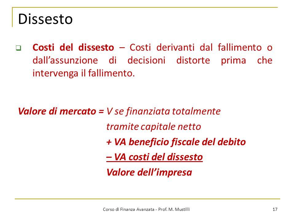 Dissesto 17 Corso di Finanza Avanzata - Prof. M. Mustilli  Costi del dissesto – Costi derivanti dal fallimento o dall'assunzione di decisioni distort
