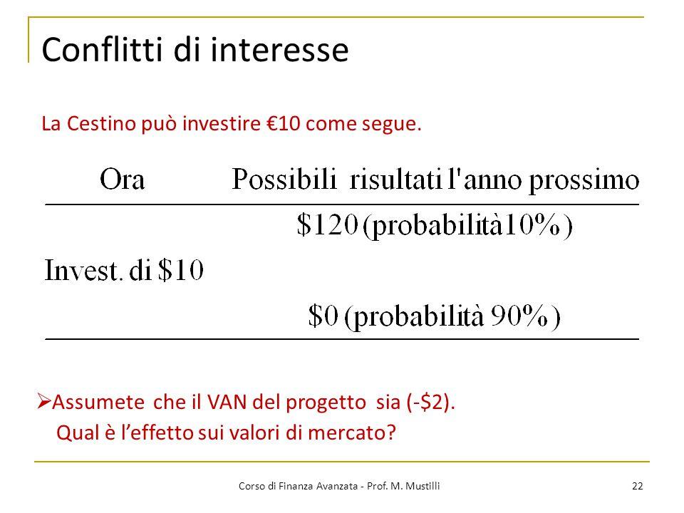 Conflitti di interesse 22 Corso di Finanza Avanzata - Prof. M. Mustilli La Cestino può investire €10 come segue.  Assumete che il VAN del progetto si