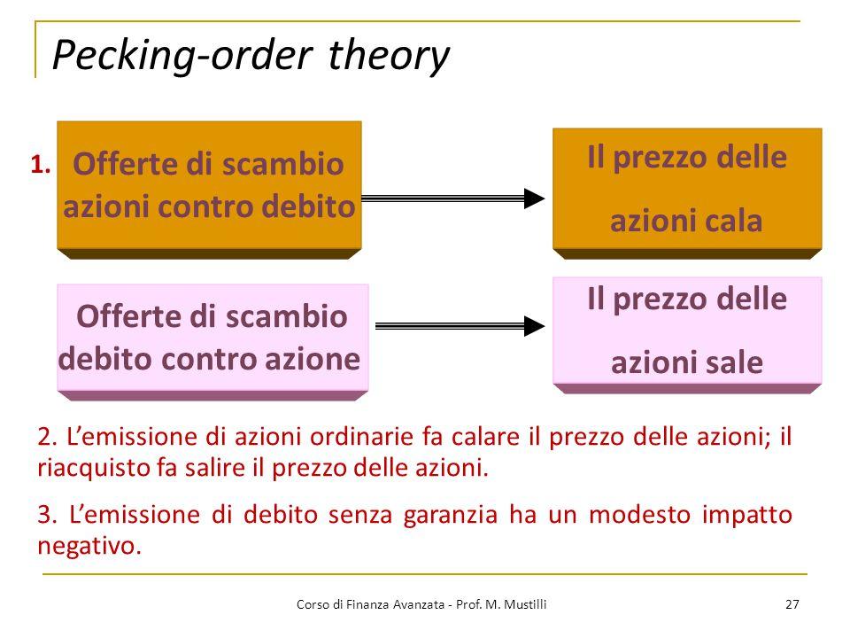 Pecking-order theory 27 Corso di Finanza Avanzata - Prof. M. Mustilli 1. Offerte di scambio azioni contro debito Offerte di scambio debito contro azio