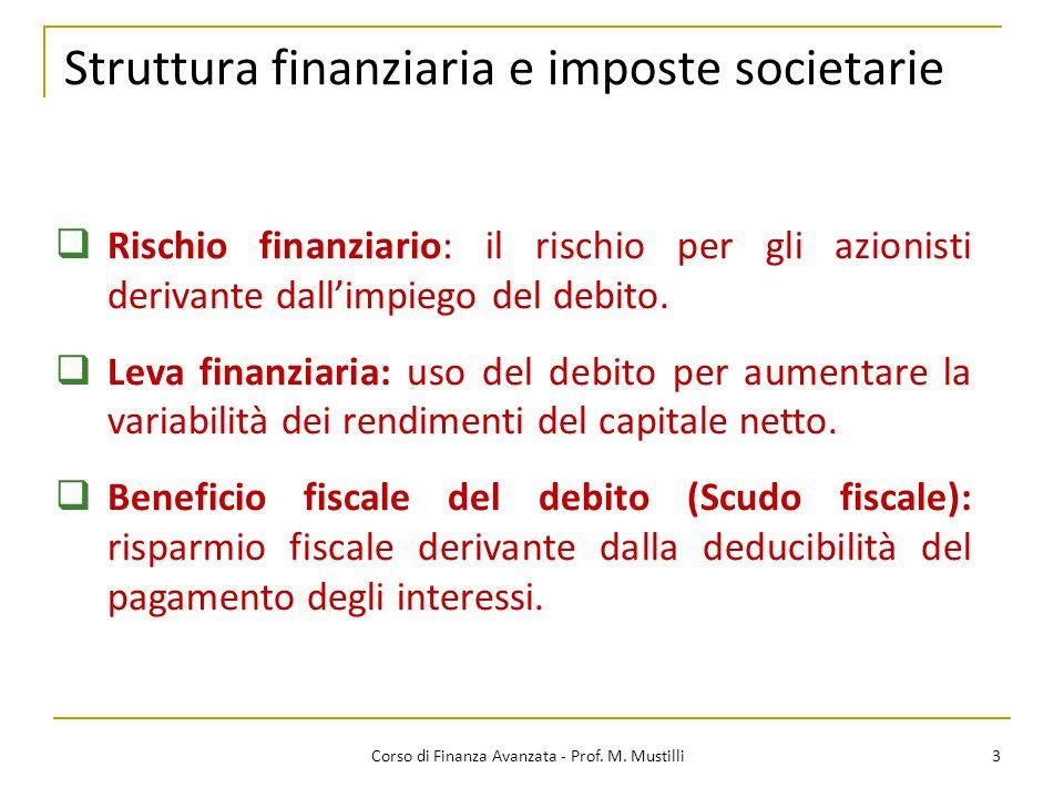 Struttura finanziaria e imposte societarie 3  Rischio finanziario: il rischio per gli azionisti derivante dall'impiego del debito.  Leva finanziaria