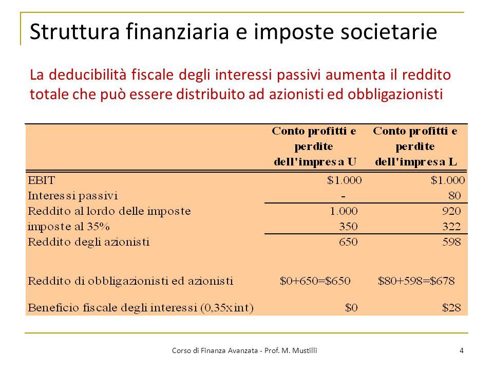 Struttura finanziaria e imposte societarie 4 Corso di Finanza Avanzata - Prof. M. Mustilli La deducibilità fiscale degli interessi passivi aumenta il