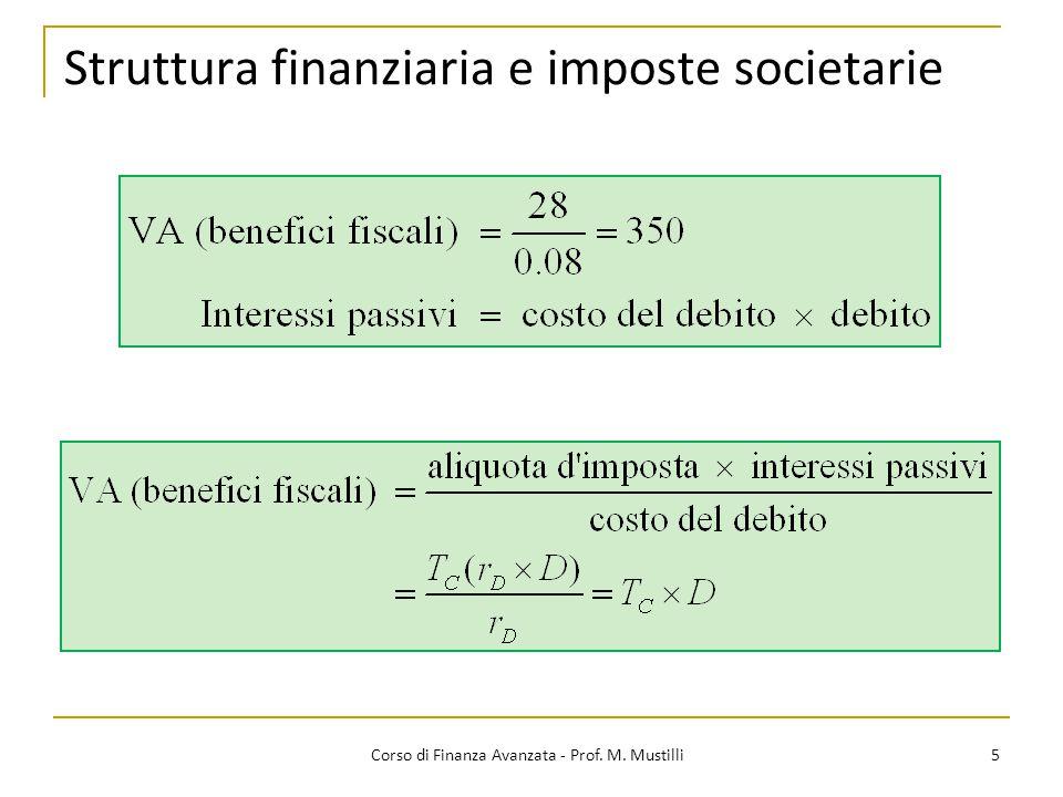 Scelte finanziarie 26 Corso di Finanza Avanzata - Prof.