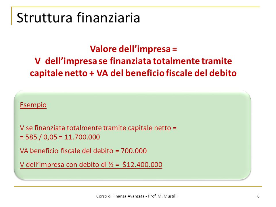 8 Corso di Finanza Avanzata - Prof. M. Mustilli Valore dell'impresa = V dell'impresa se finanziata totalmente tramite capitale netto + VA del benefici