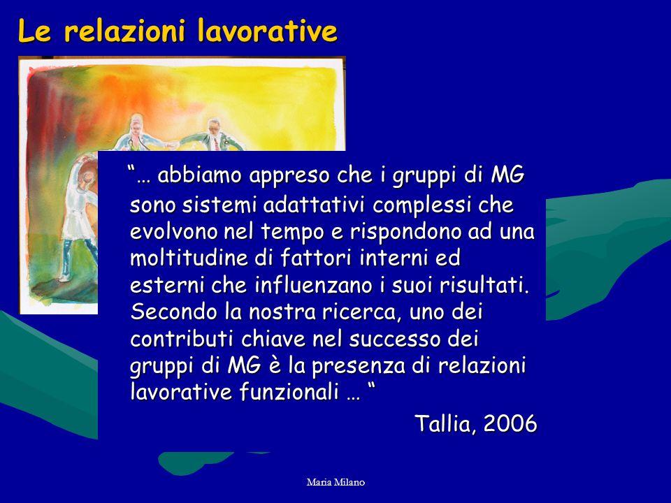 Maria Milano Le relazioni lavorative … abbiamo appreso che i gruppi di MG sono sistemi adattativi complessi che evolvono nel tempo e rispondono ad una moltitudine di fattori interni ed esterni che influenzano i suoi risultati.