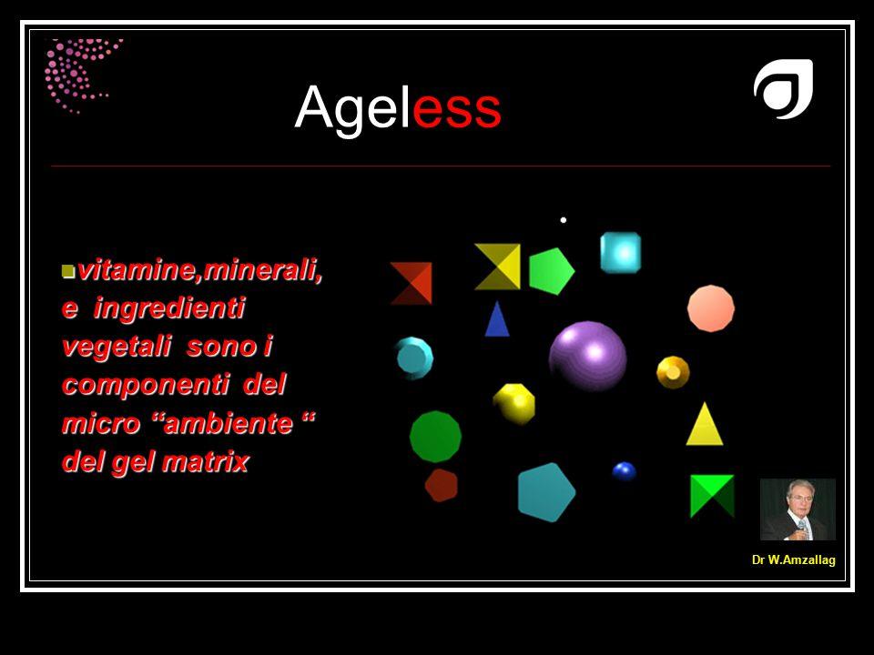 """Ageless Dr W.Amzallag vitamine,minerali, e ingredienti vegetali sono i componenti del micro """"ambiente """" del gel matrix vitamine,minerali, e ingredient"""