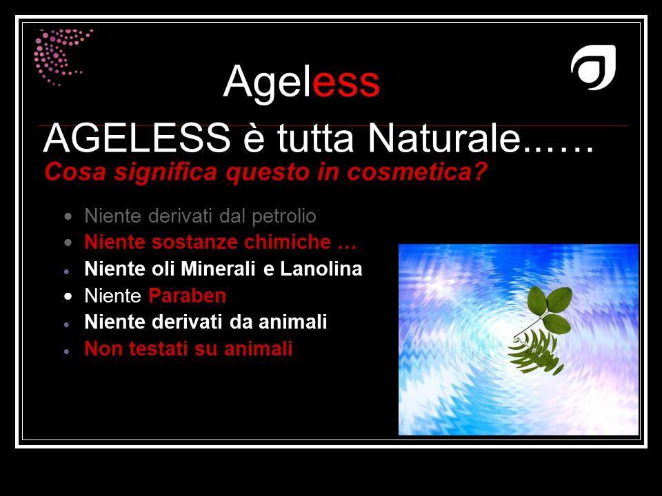 Ageless Dr W.Amzallag AGELESS è tutta Naturale..…. Cosa significa questo in cosmetica?  Niente derivati dal petrolio  Niente sostanze chimiche …  N