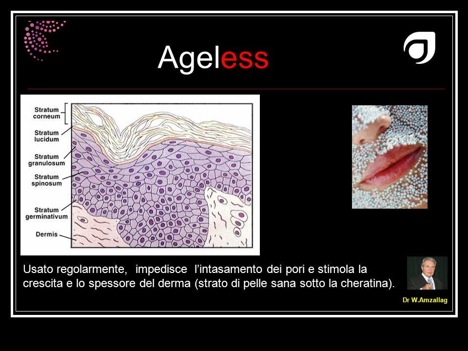 Ageless Dr W.Amzallag Usato regolarmente, impedisce l'intasamento dei pori e stimola la crescita e lo spessore del derma (strato di pelle sana sotto l