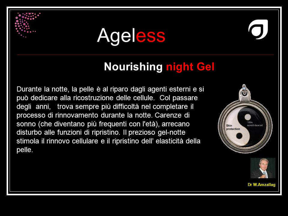 Ageless Dr W.Amzallag Nourishing night Gel Durante la notte, la pelle è al riparo dagli agenti esterni e si può dedicare alla ricostruzione delle cell