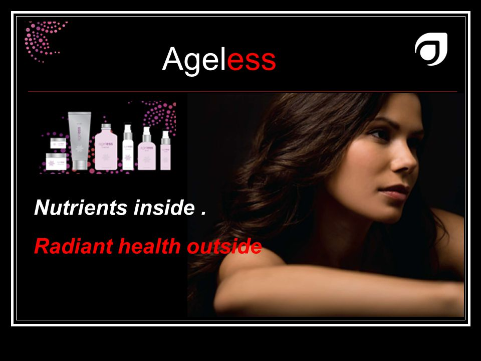 Ageless Dr W.Amzallag Nutrients inside. Radiant health outside