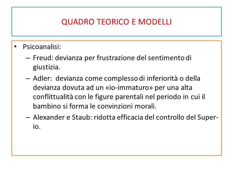 QUADRO TEORICO E MODELLI Psicoanalisi: – Freud: devianza per frustrazione del sentimento di giustizia. – Adler: devianza come complesso di inferiorità