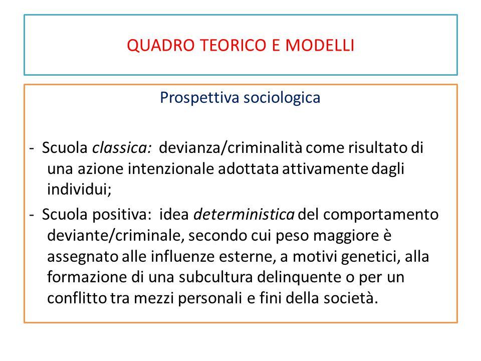 QUADRO TEORICO E MODELLI Prospettiva sociologica - Scuola classica: devianza/criminalità come risultato di una azione intenzionale adottata attivament