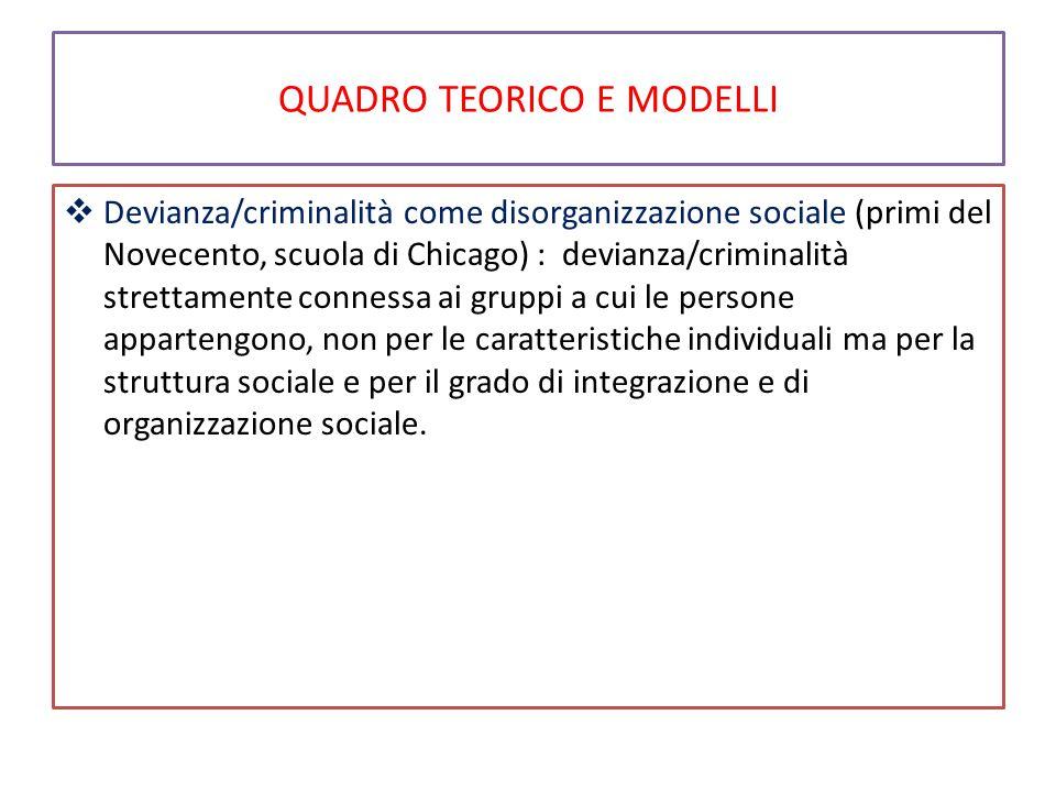 QUADRO TEORICO E MODELLI  Devianza/criminalità come disorganizzazione sociale (primi del Novecento, scuola di Chicago) : devianza/criminalità stretta