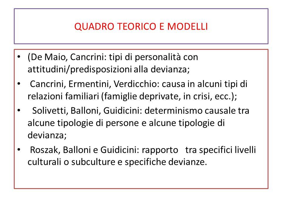 QUADRO TEORICO E MODELLI (De Maio, Cancrini: tipi di personalità con attitudini/predisposizioni alla devianza; Cancrini, Ermentini, Verdicchio: causa