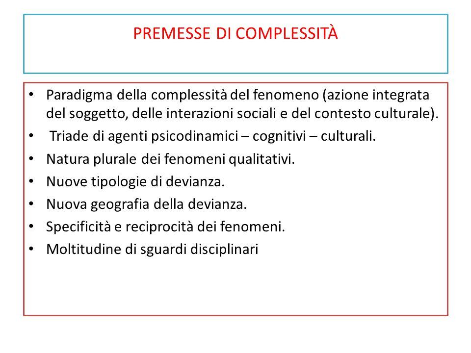 PREMESSE DI COMPLESSITÀ Paradigma della complessità del fenomeno (azione integrata del soggetto, delle interazioni sociali e del contesto culturale).