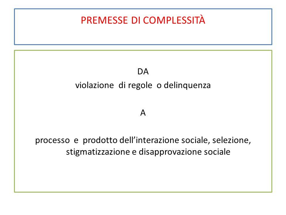 PREMESSE DI COMPLESSITÀ DA violazione di regole o delinquenza A processo e prodotto dell'interazione sociale, selezione, stigmatizzazione e disapprova