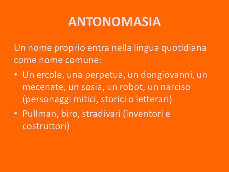 ANTONOMASIA Un nome proprio entra nella lingua quotidiana come nome comune: Un ercole, una perpetua, un dongiovanni, un mecenate, un sosia, un robot, un narciso (personaggi mitici, storici o letterari) Pullman, biro, stradivari (inventori e costruttori)