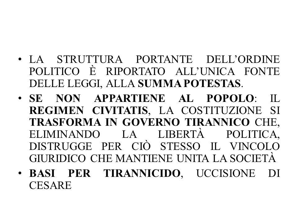 LA STRUTTURA PORTANTE DELL'ORDINE POLITICO È RIPORTATO ALL'UNICA FONTE DELLE LEGGI, ALLA SUMMA POTESTAS. SE NON APPARTIENE AL POPOLO: IL REGIMEN CIVIT