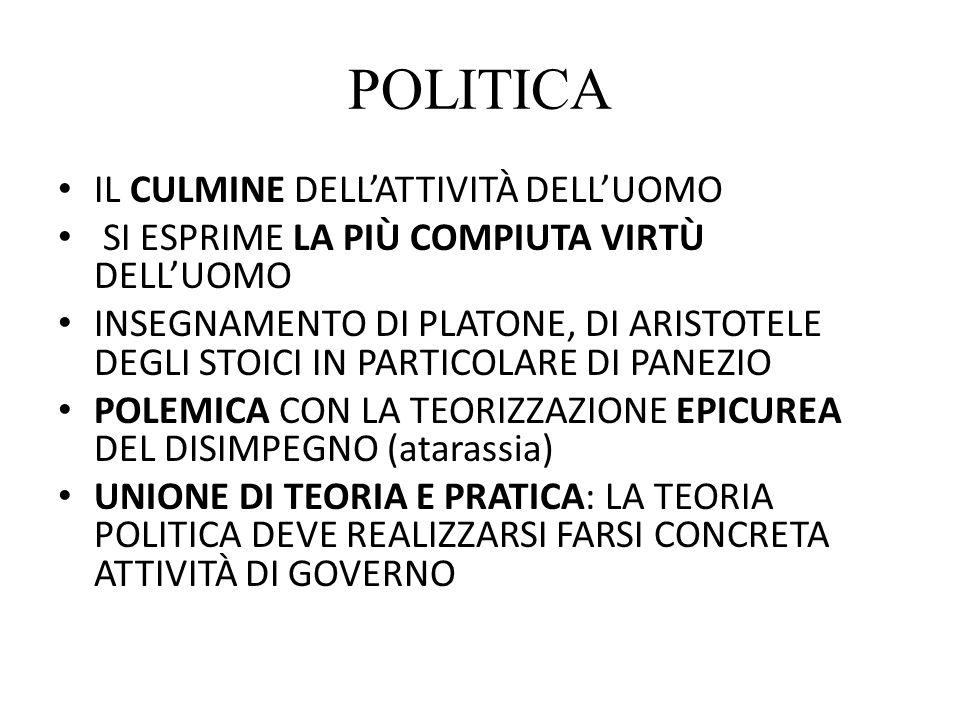 POLITICA IL CULMINE DELL'ATTIVITÀ DELL'UOMO SI ESPRIME LA PIÙ COMPIUTA VIRTÙ DELL'UOMO INSEGNAMENTO DI PLATONE, DI ARISTOTELE DEGLI STOICI IN PARTICOL