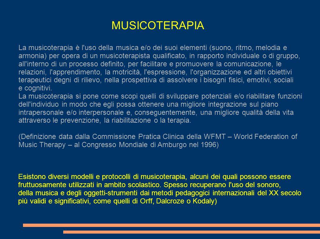 La musicoterapia è l'uso della musica e/o dei suoi elementi (suono, ritmo, melodia e armonia) per opera di un musicoterapista qualificato, in rapporto