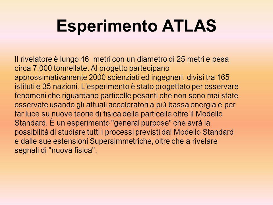 Esperimento ATLAS Il rivelatore è lungo 46 metri con un diametro di 25 metri e pesa circa 7,000 tonnellate. Al progetto partecipano approssimativament