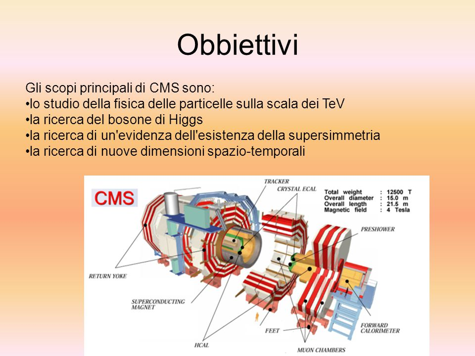 Obbiettivi Gli scopi principali di CMS sono: lo studio della fisica delle particelle sulla scala dei TeV la ricerca del bosone di Higgs la ricerca di