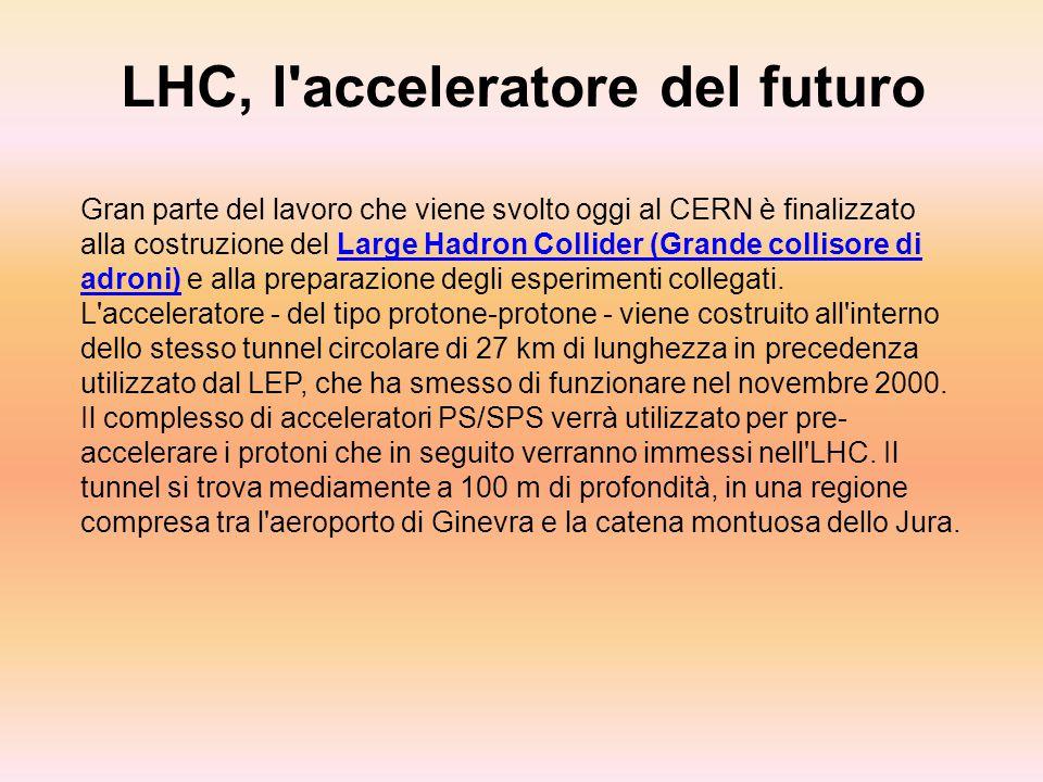 LHC, l'acceleratore del futuro Gran parte del lavoro che viene svolto oggi al CERN è finalizzato alla costruzione del Large Hadron Collider (Grande co