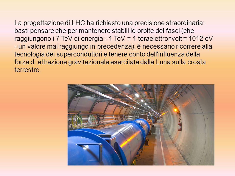 Esperimenti al LHC Il programma scientifico di LHC prevede quattro esperimenti: ALICE: è un apparato alto 16 metri e lungo 20 che studia collisioni fra nuclei di piombo anziché fra protoni.