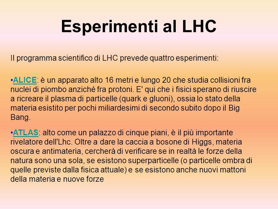 Esperimenti al LHC Il programma scientifico di LHC prevede quattro esperimenti: ALICE: è un apparato alto 16 metri e lungo 20 che studia collisioni fr